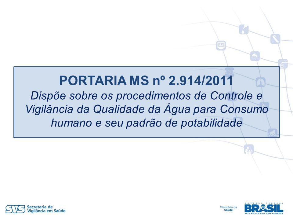 PORTARIA MS nº 2.914/2011 Dispõe sobre os procedimentos de Controle e Vigilância da Qualidade da Água para Consumo humano e seu padrão de potabilidade