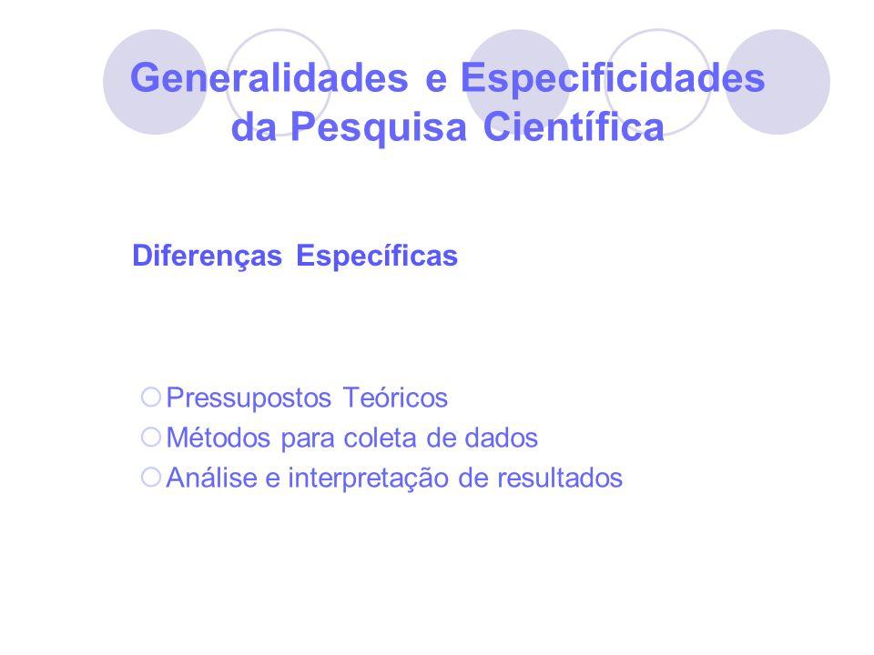 Generalidades e Especificidades da Pesquisa Científica Pressupostos Teóricos Métodos para coleta de dados Análise e interpretação de resultados Difere