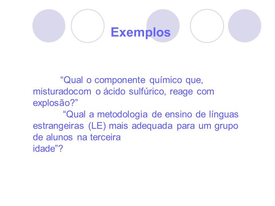 Exemplos Qual o componente químico que, misturadocom o ácido sulfúrico, reage com explosão? Qual a metodologia de ensino de línguas estrangeiras (LE)