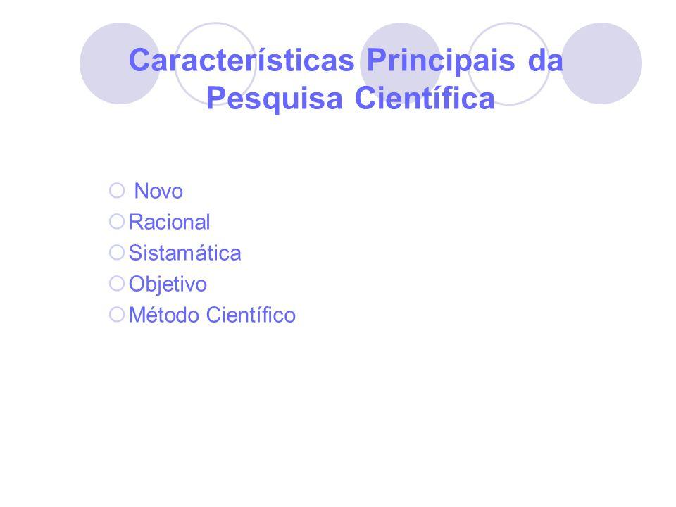 Características Principais da Pesquisa Científica Novo Racional Sistamática Objetivo Método Científico