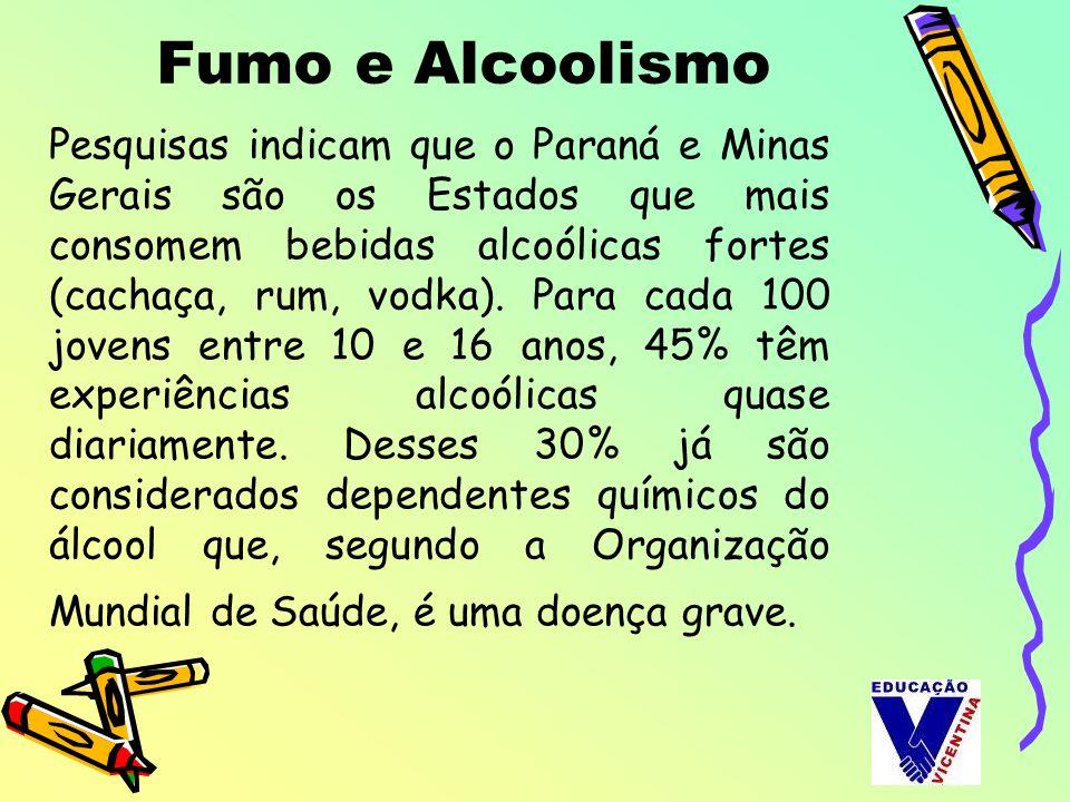 Pesquisas indicam que o Paraná e Minas Gerais são os Estados que mais consomem bebidas alcoólicas fortes (cachaça, rum, vodka). Para cada 100 jovens e