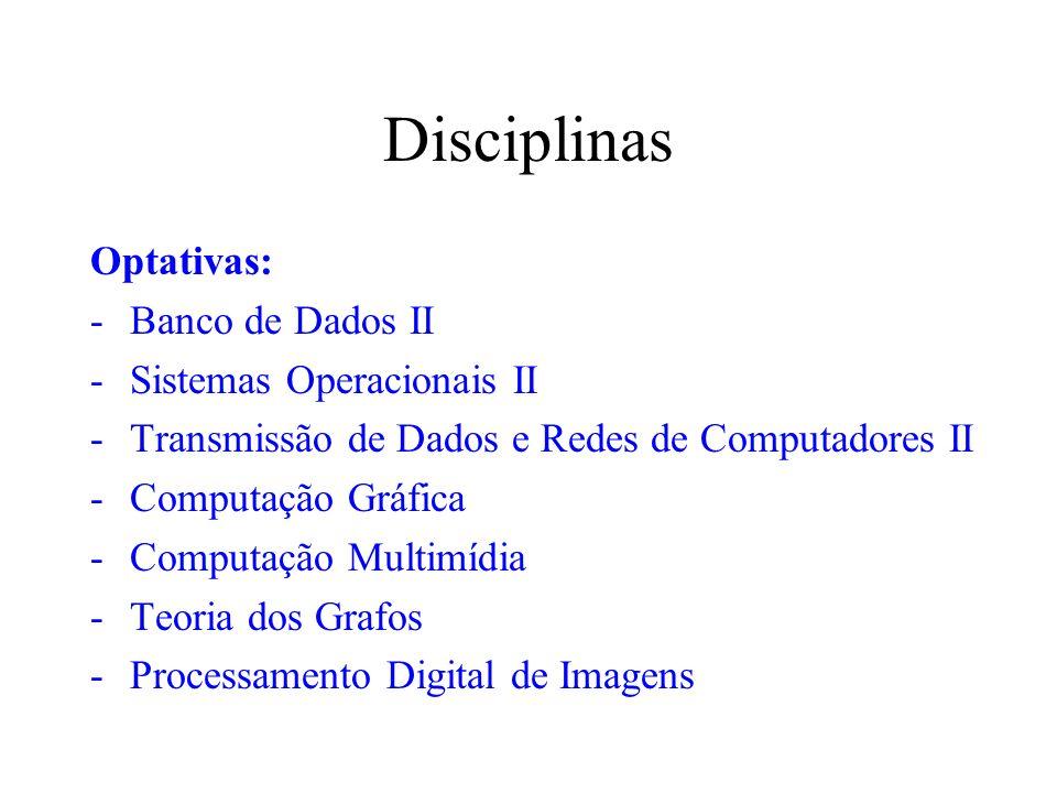 Disciplinas Optativas: -Banco de Dados II -Sistemas Operacionais II -Transmissão de Dados e Redes de Computadores II -Computação Gráfica -Computação M