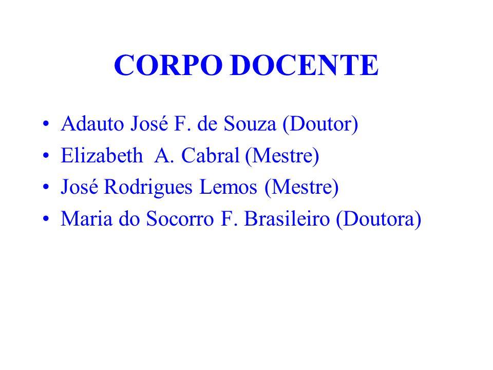 CORPO DOCENTE Adauto José F. de Souza (Doutor) Elizabeth A. Cabral (Mestre) José Rodrigues Lemos (Mestre) Maria do Socorro F. Brasileiro (Doutora)