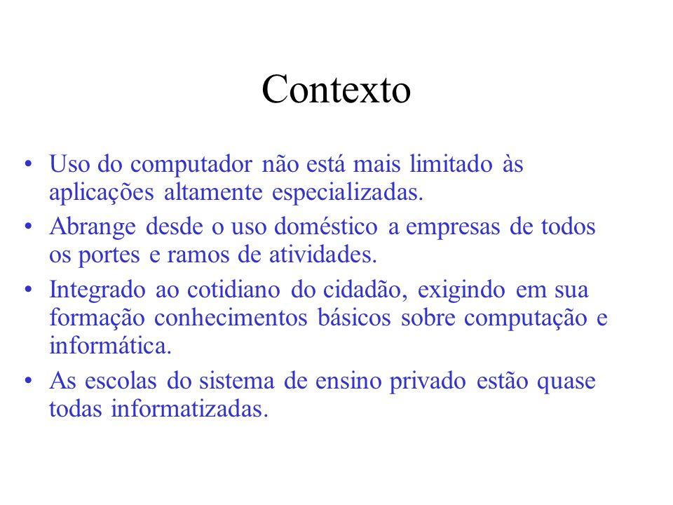 Contexto Uso do computador não está mais limitado às aplicações altamente especializadas. Abrange desde o uso doméstico a empresas de todos os portes