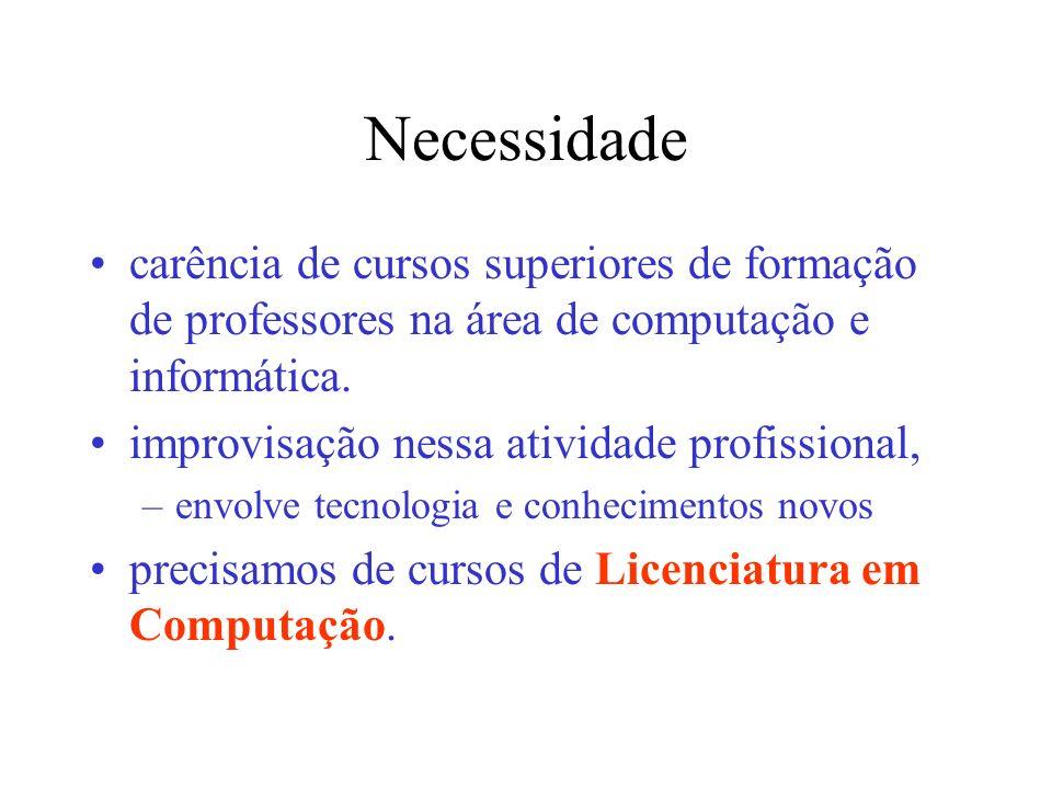 Necessidade carência de cursos superiores de formação de professores na área de computação e informática. improvisação nessa atividade profissional, –