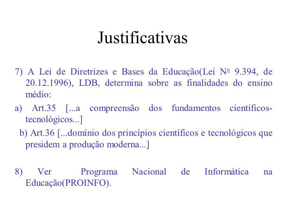 Justificativas 7) A Lei de Diretrizes e Bases da Educação(Lei N o 9.394, de 20.12.1996), LDB, determina sobre as finalidades do ensino médio: a) Art.3
