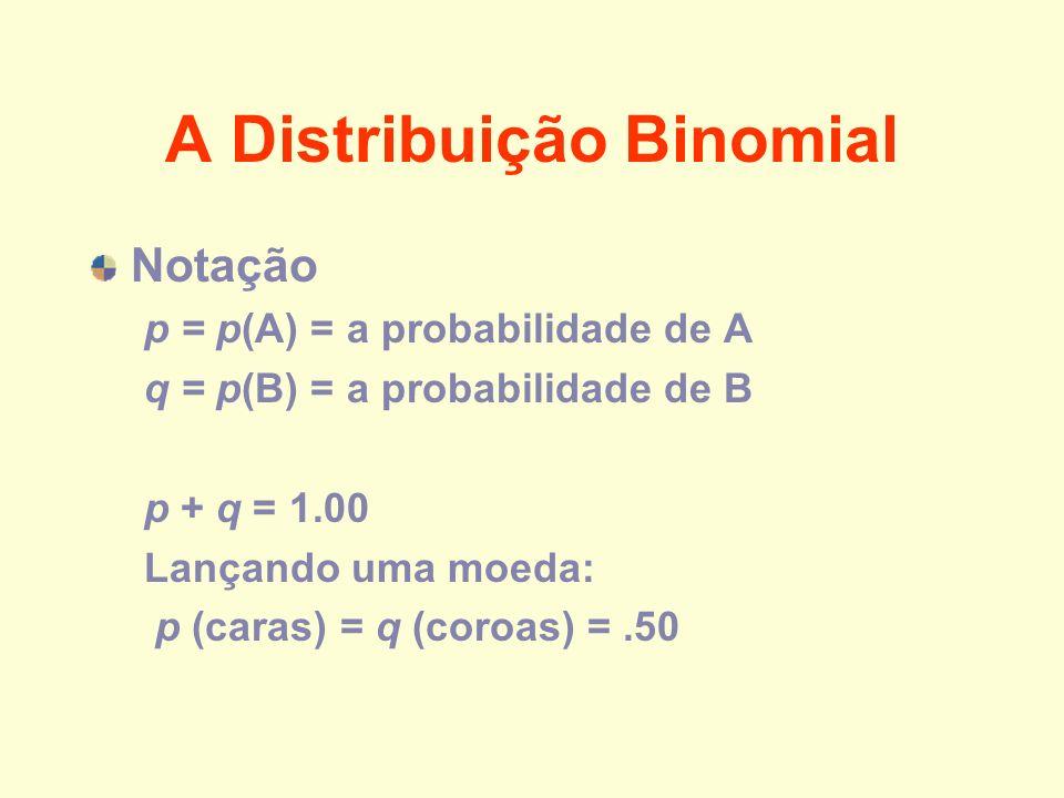 A Distribuição Binomial Notação p = p(A) = a probabilidade de A q = p(B) = a probabilidade de B p + q = 1.00 Lançando uma moeda: p (caras) = q (coroas