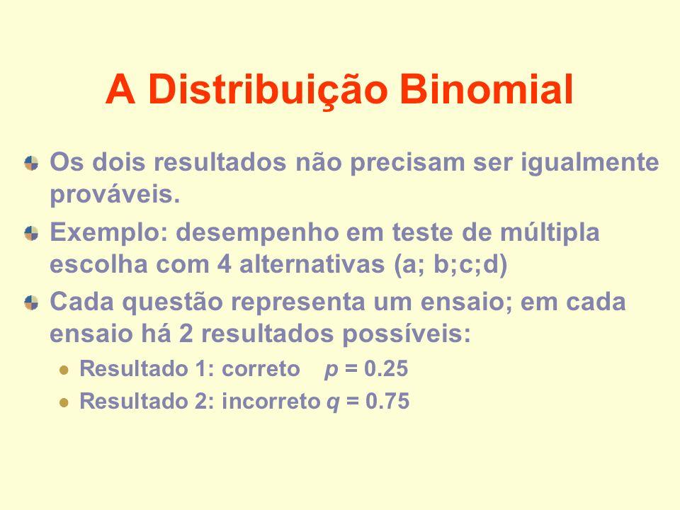 A Distribuição Binomial Os dois resultados não precisam ser igualmente prováveis. Exemplo: desempenho em teste de múltipla escolha com 4 alternativas