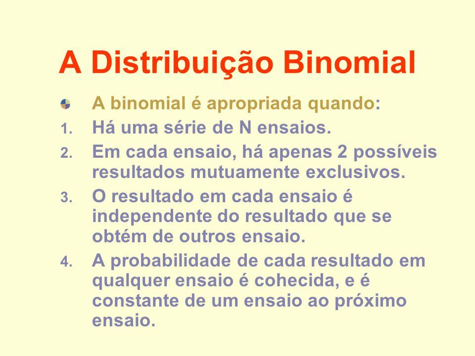 A Distribuição Binomial A binomial é apropriada quando: 1. Há uma série de N ensaios. 2. Em cada ensaio, há apenas 2 possíveis resultados mutuamente e