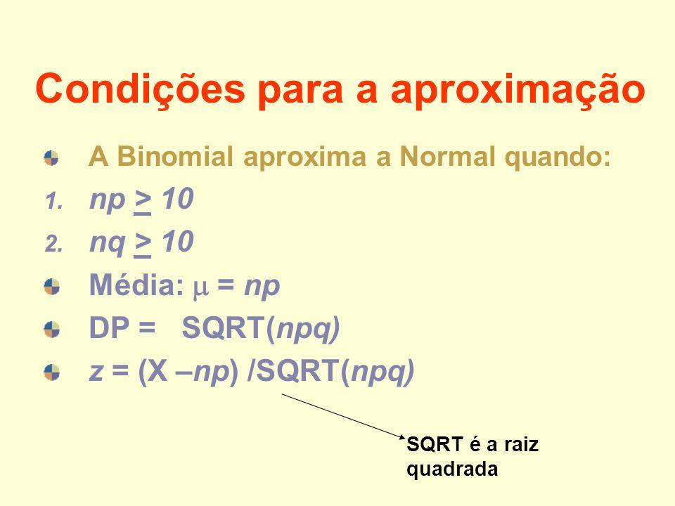 Condições para a aproximação A Binomial aproxima a Normal quando: 1. np > 10 2. nq > 10 Média: = np DP = SQRT(npq) z = (X –np) /SQRT(npq) SQRT é a rai