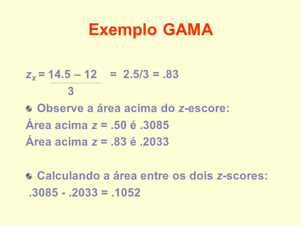 Exemplo GAMA z x = 14.5 – 12 = 2.5/3 =.83 3 Observe a área acima do z-escore: Área acima z =.50 é.3085 Área acima z =.83 é.2033 Calculando a área entr