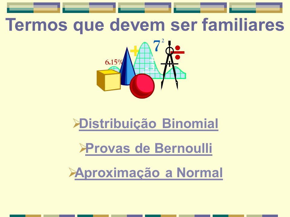 Distribuição Binomial Provas de Bernoulli Aproximação a Normal Termos que devem ser familiares