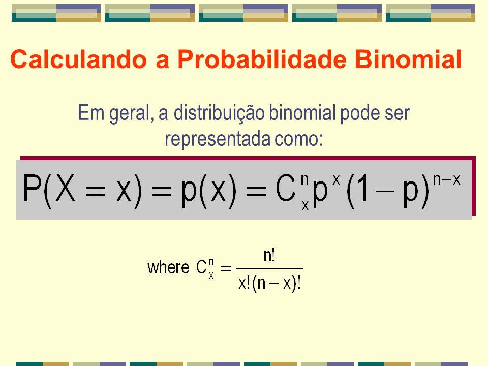 Calculando a Probabilidade Binomial Em geral, a distribuição binomial pode ser representada como: