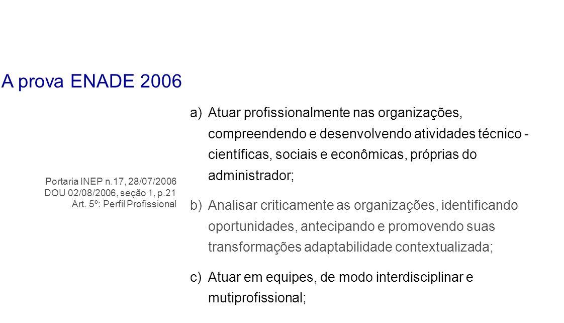 a)Atuar profissionalmente nas organizações, compreendendo e desenvolvendo atividades técnico - científicas, sociais e econômicas, próprias do administ