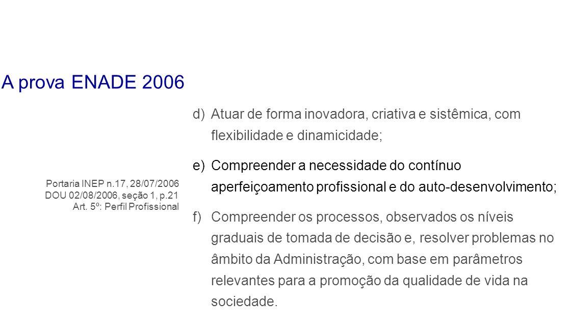 d)Atuar de forma inovadora, criativa e sistêmica, com flexibilidade e dinamicidade; e)Compreender a necessidade do contínuo aperfeiçoamento profission