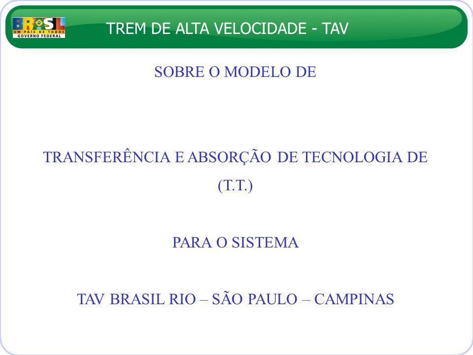 TREM DE ALTA VELOCIDADE - TAV SOBRE O MODELO DE TRANSFERÊNCIA E ABSORÇÃO DE TECNOLOGIA DE (T.T.) PARA O SISTEMA TAV BRASIL RIO – SÃO PAULO – CAMPINAS
