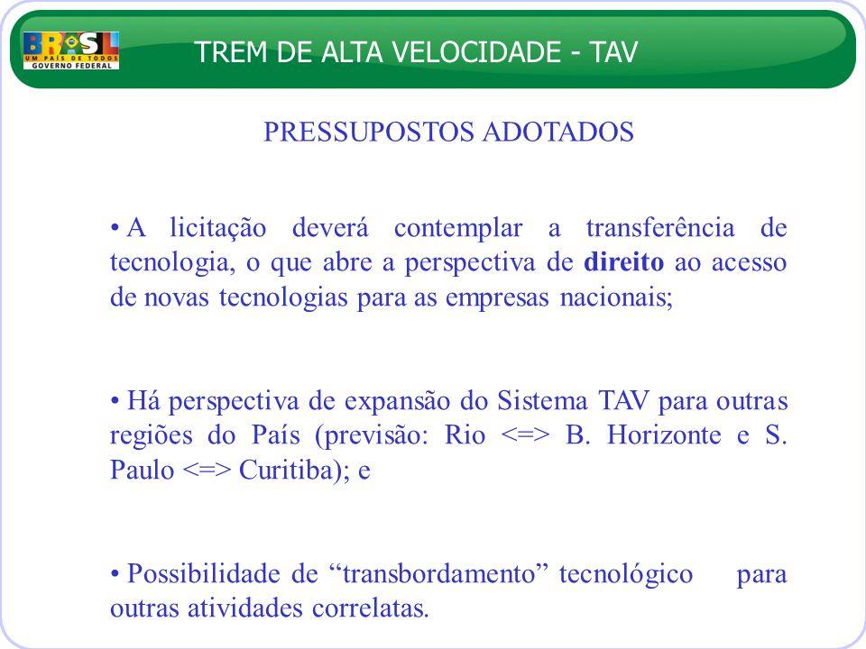TREM DE ALTA VELOCIDADE - TAV PRESSUPOSTOS ADOTADOS A licitação deverá contemplar a transferência de tecnologia, o que abre a perspectiva de direito a