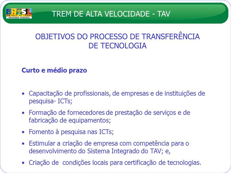 TREM DE ALTA VELOCIDADE - TAV OBJETIVOS DO PROCESSO DE TRANSFERÊNCIA DE TECNOLOGIA Curto e médio prazo Capacitação de profissionais, de empresas e de