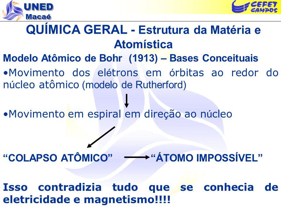 UNED Macaé QUÍMICA GERAL - Estrutura da Matéria e Atomística Modelo Atômico de Bohr (1913) – Bases Conceituais Movimento dos el é trons em ó rbitas ao