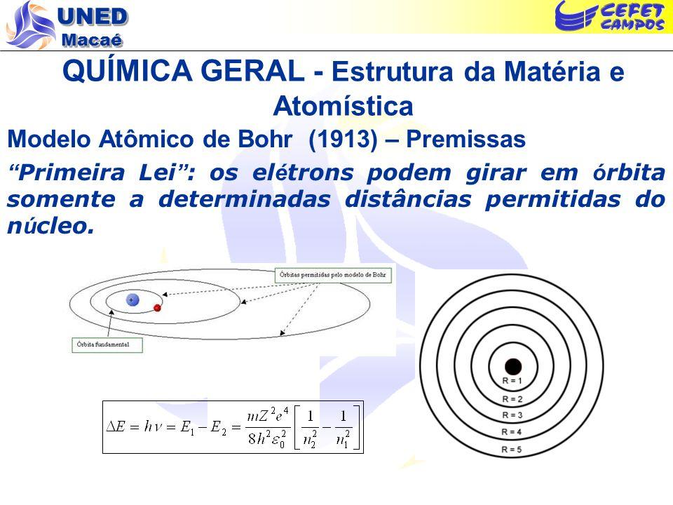 UNED Macaé QUÍMICA GERAL - Estrutura da Matéria e Atomística Modelo Atômico de Bohr (1913) – Premissas Primeira Lei : os el é trons podem girar em ó r
