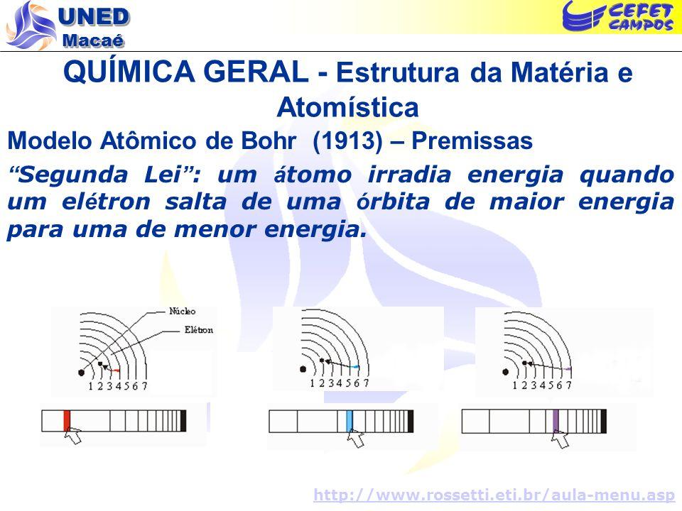 UNED Macaé QUÍMICA GERAL - Estrutura da Matéria e Atomística Modelo Atômico de Bohr (1913) – Premissas Segunda Lei : um á tomo irradia energia quando