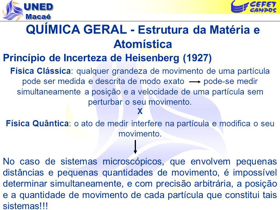 UNED Macaé QUÍMICA GERAL - Estrutura da Matéria e Atomística Princípio de Incerteza de Heisenberg (1927) Física Clássica: qualquer grandeza de movimen