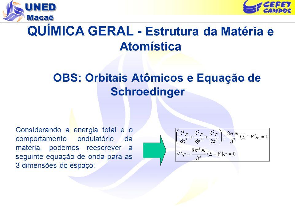 UNED Macaé QUÍMICA GERAL - Estrutura da Matéria e Atomística OBS: Orbitais Atômicos e Equação de Schroedinger Considerando a energia total e o comport
