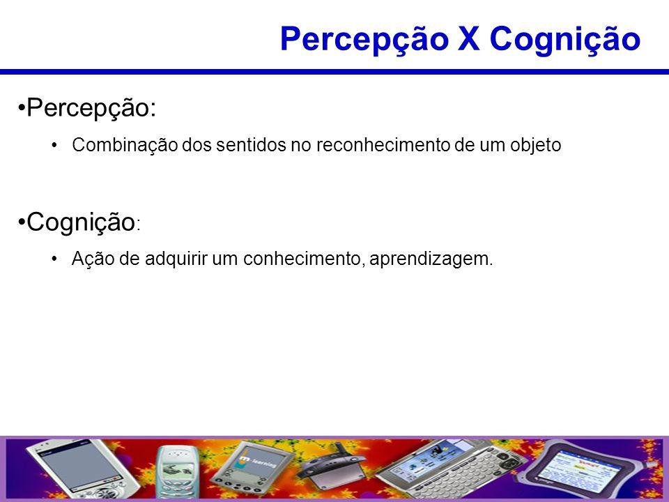 Percepção: Combinação dos sentidos no reconhecimento de um objeto Cognição : Ação de adquirir um conhecimento, aprendizagem. Percepção X Cognição