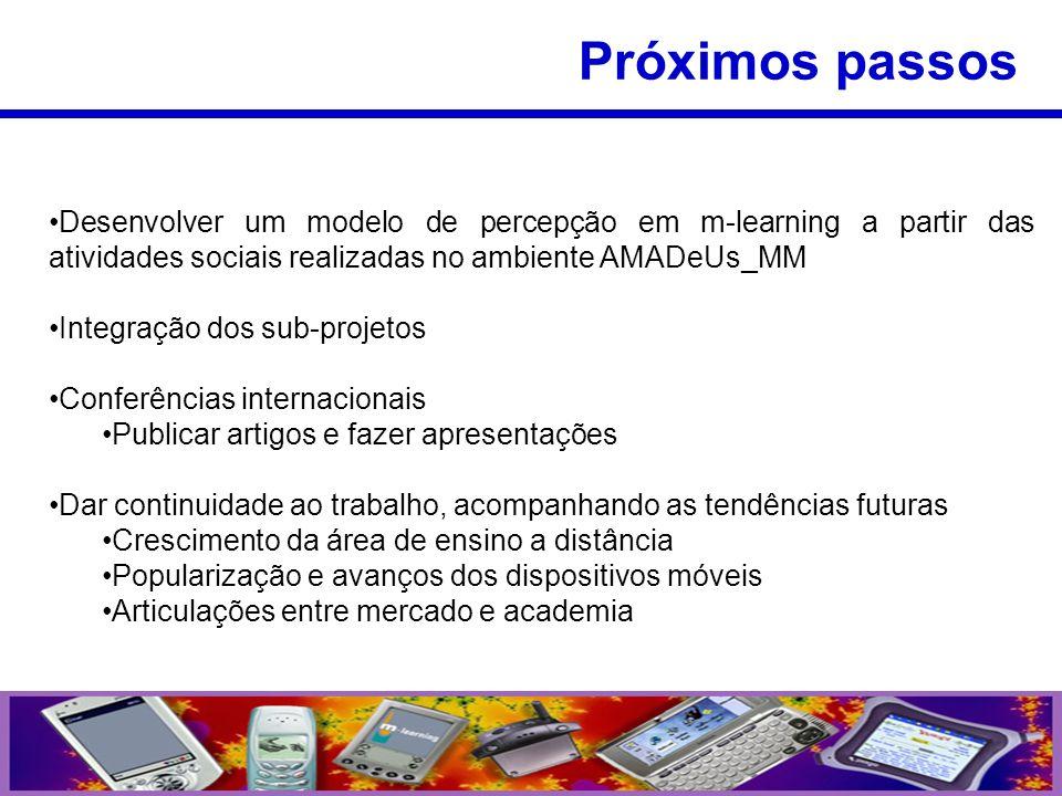 Desenvolver um modelo de percepção em m-learning a partir das atividades sociais realizadas no ambiente AMADeUs_MM Integração dos sub-projetos Conferê
