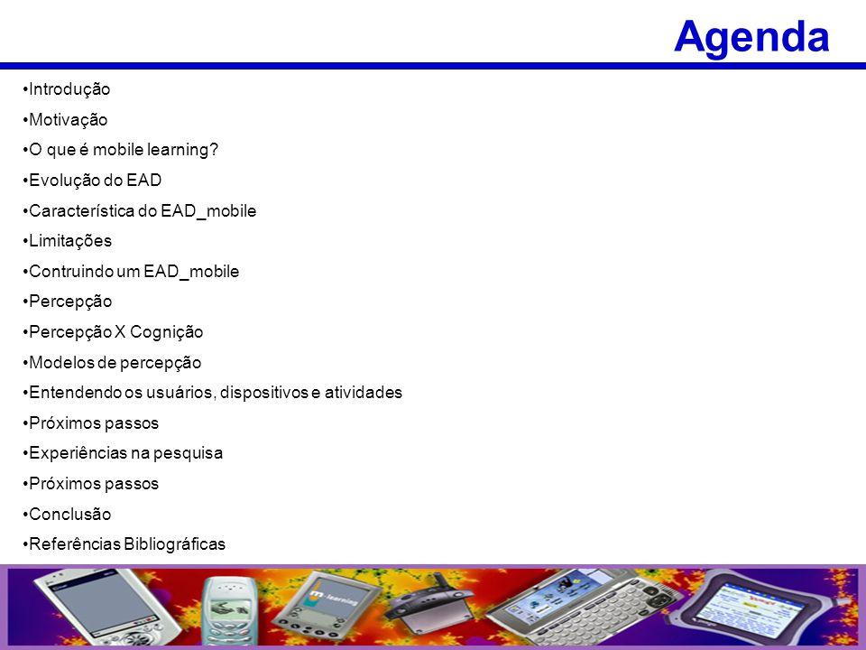 Introdução Motivação O que é mobile learning? Evolução do EAD Característica do EAD_mobile Limitações Contruindo um EAD_mobile Percepção Percepção X C