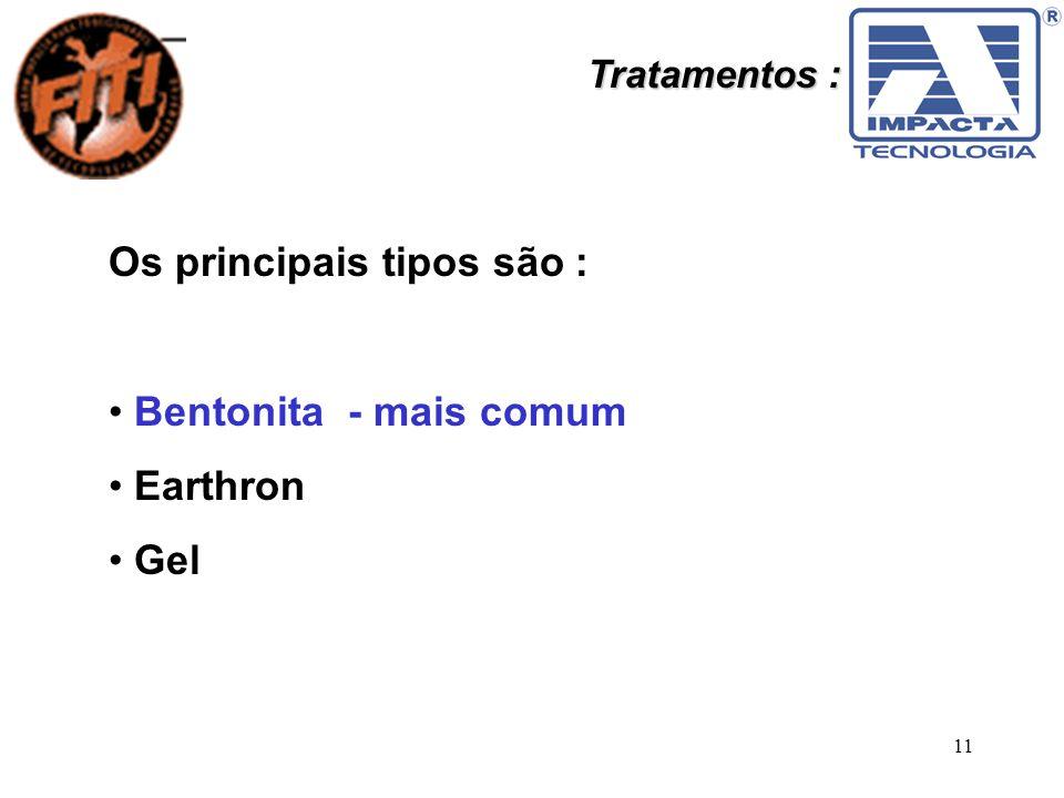 11 Tratamentos : Os principais tipos são : Bentonita - mais comum Earthron Gel