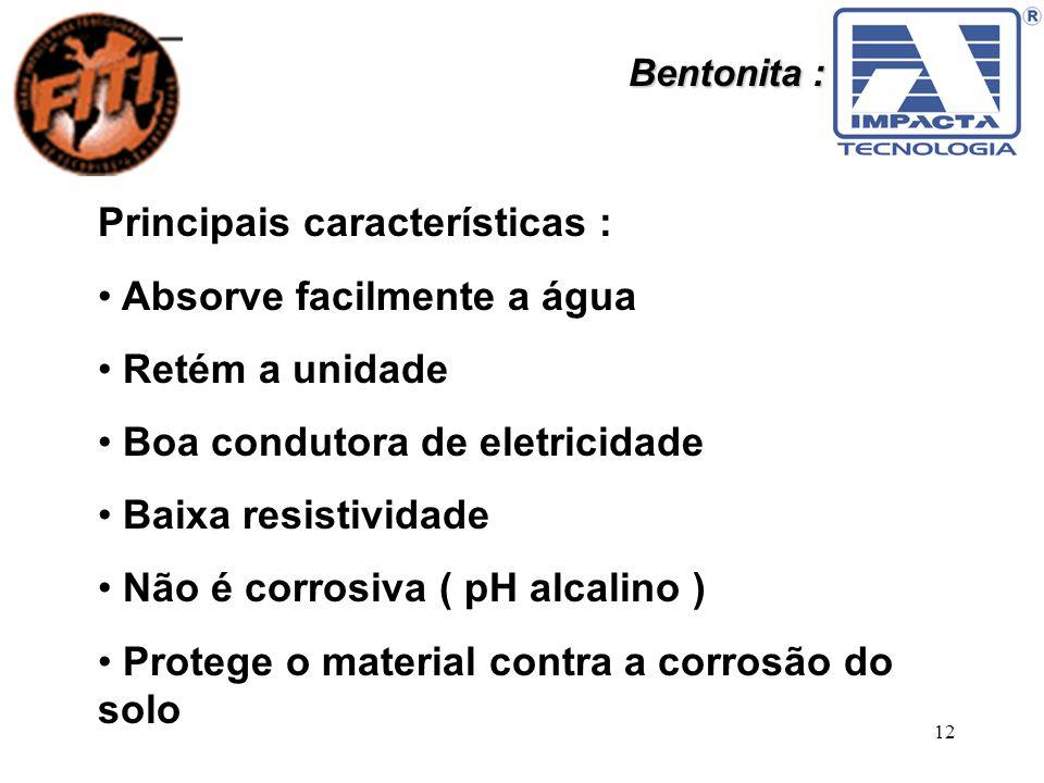 12 Bentonita : Principais características : Absorve facilmente a água Retém a unidade Boa condutora de eletricidade Baixa resistividade Não é corrosiv