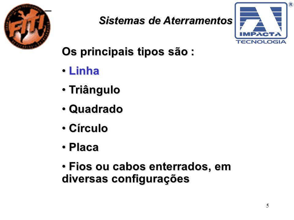 5 Sistemas de Aterramentos Os principais tipos são : Linha Linha Triângulo Triângulo Quadrado Quadrado Círculo Círculo Placa Placa Fios ou cabos enter