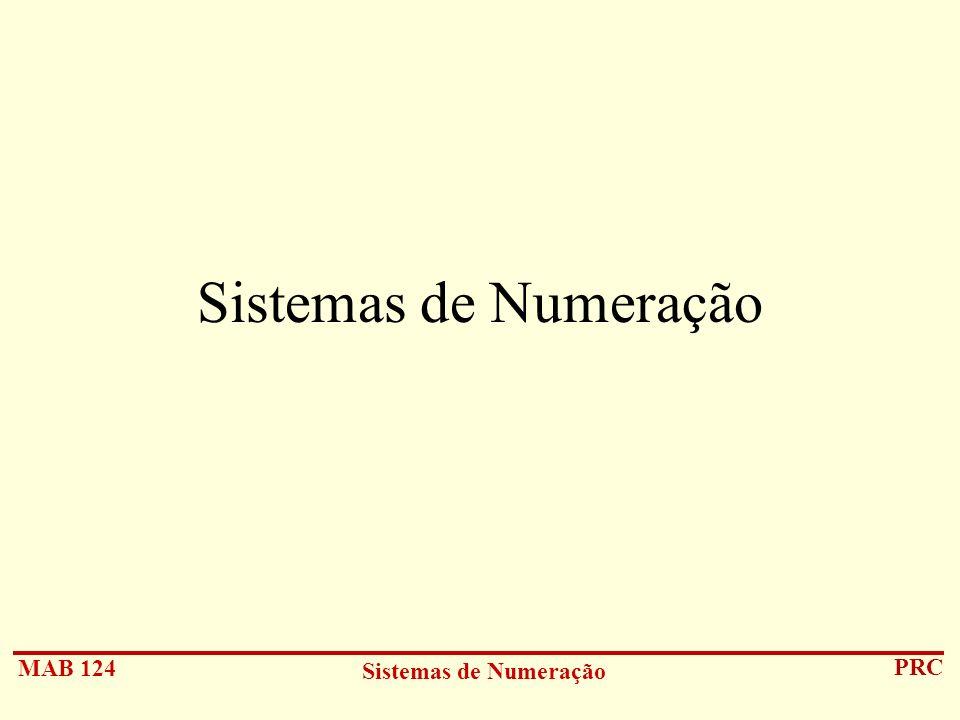 MAB 124 Sistemas de Numeração PRC Sistemas de Numeração