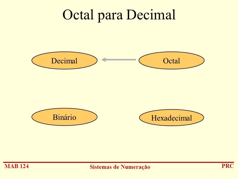 MAB 124 Sistemas de Numeração PRC Octal para Decimal Hexadecimal DecimalOctal Binário