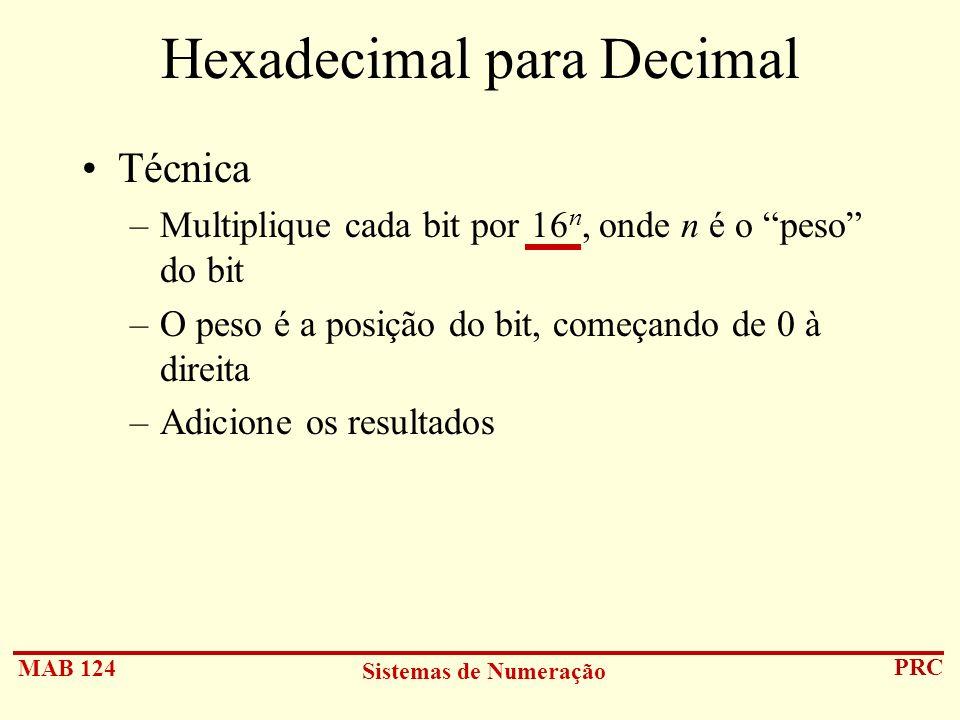 MAB 124 Sistemas de Numeração PRC Hexadecimal para Decimal Técnica –Multiplique cada bit por 16 n, onde n é o peso do bit –O peso é a posição do bit,