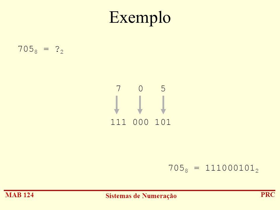 MAB 124 Sistemas de Numeração PRC Exemplo 705 8 = ? 2 7 0 5 111 000 101 705 8 = 111000101 2