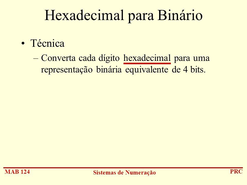 MAB 124 Sistemas de Numeração PRC Hexadecimal para Binário Técnica –Converta cada dígito hexadecimal para uma representação binária equivalente de 4 b