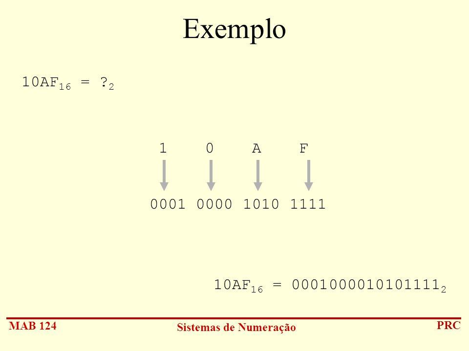 MAB 124 Sistemas de Numeração PRC Exemplo 10AF 16 = ? 2 1 0 A F 0001 0000 1010 1111 10AF 16 = 0001000010101111 2