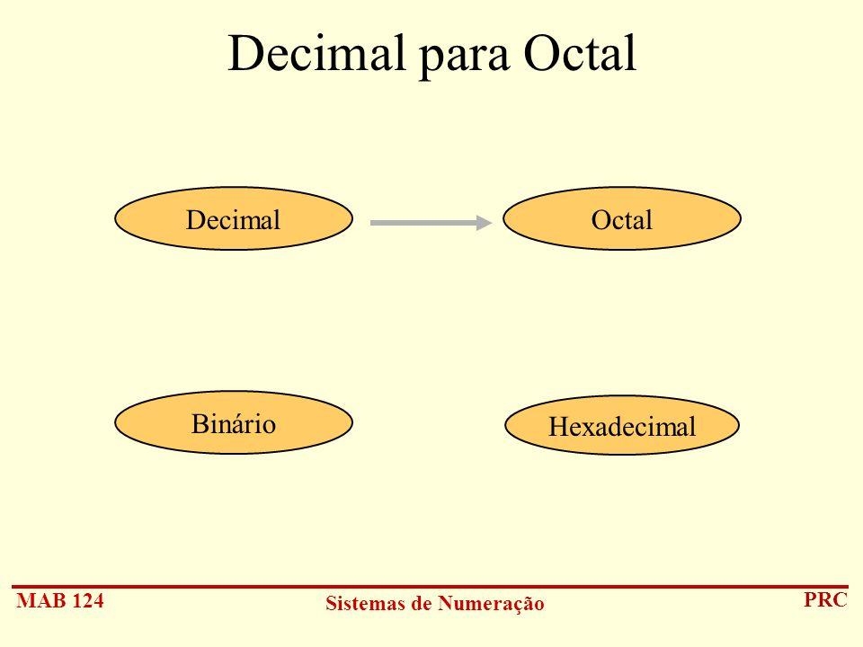 MAB 124 Sistemas de Numeração PRC Decimal para Octal Hexadecimal DecimalOctal Binário