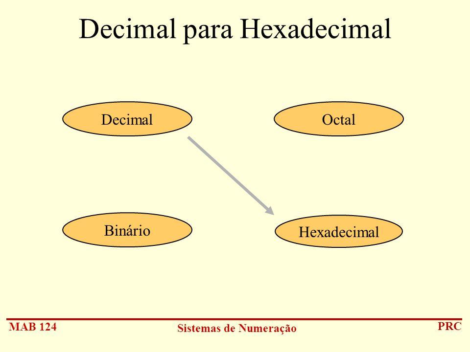 MAB 124 Sistemas de Numeração PRC Decimal para Hexadecimal Hexadecimal DecimalOctal Binário