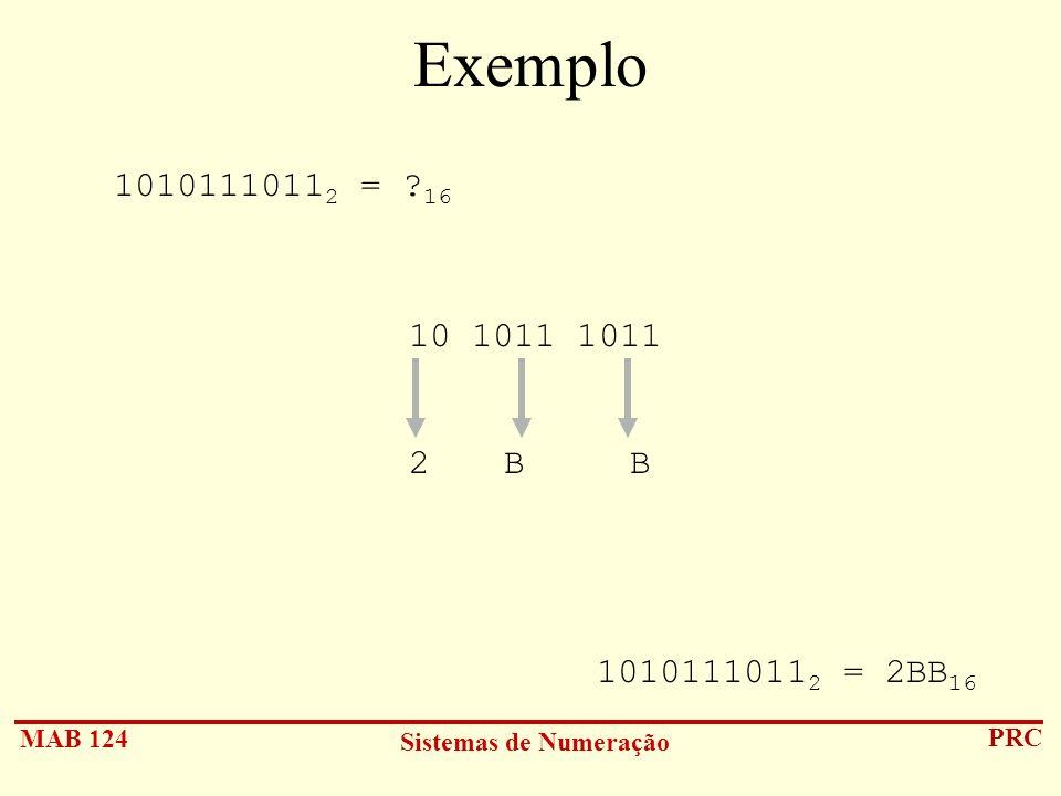 MAB 124 Sistemas de Numeração PRC Exemplo 1010111011 2 = ? 16 10 1011 1011 2 B B 1010111011 2 = 2BB 16