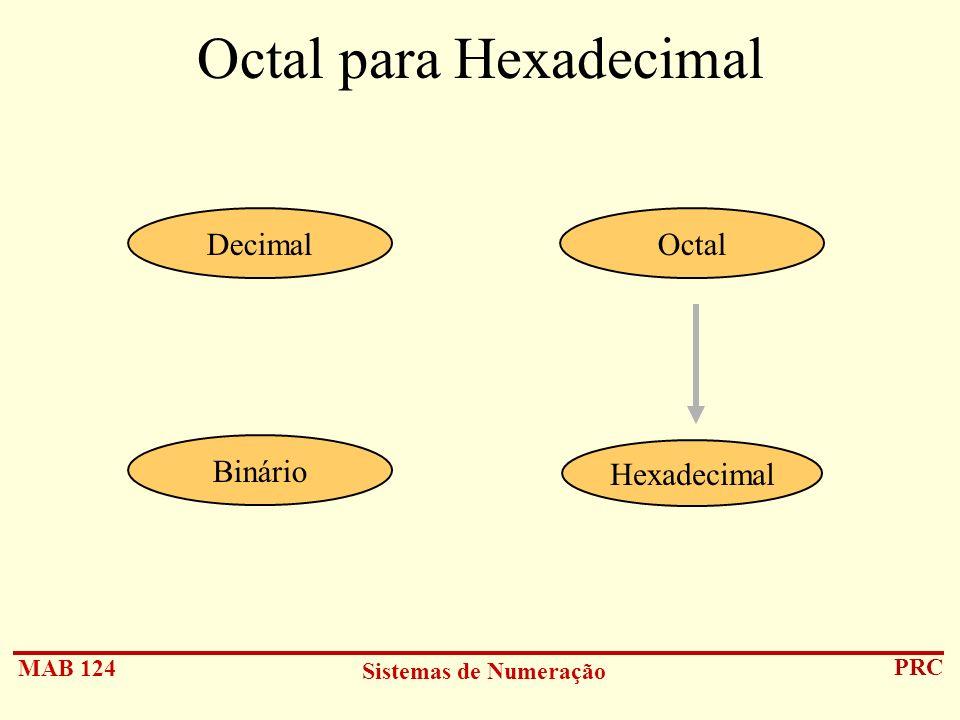 MAB 124 Sistemas de Numeração PRC Octal para Hexadecimal Hexadecimal DecimalOctal Binário