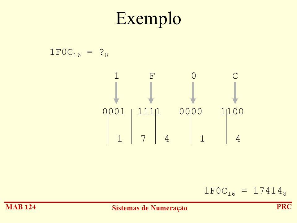 MAB 124 Sistemas de Numeração PRC Exemplo 1F0C 16 = ? 8 1 F 0 C 0001 1111 0000 1100 1 7 4 1 4 1F0C 16 = 17414 8