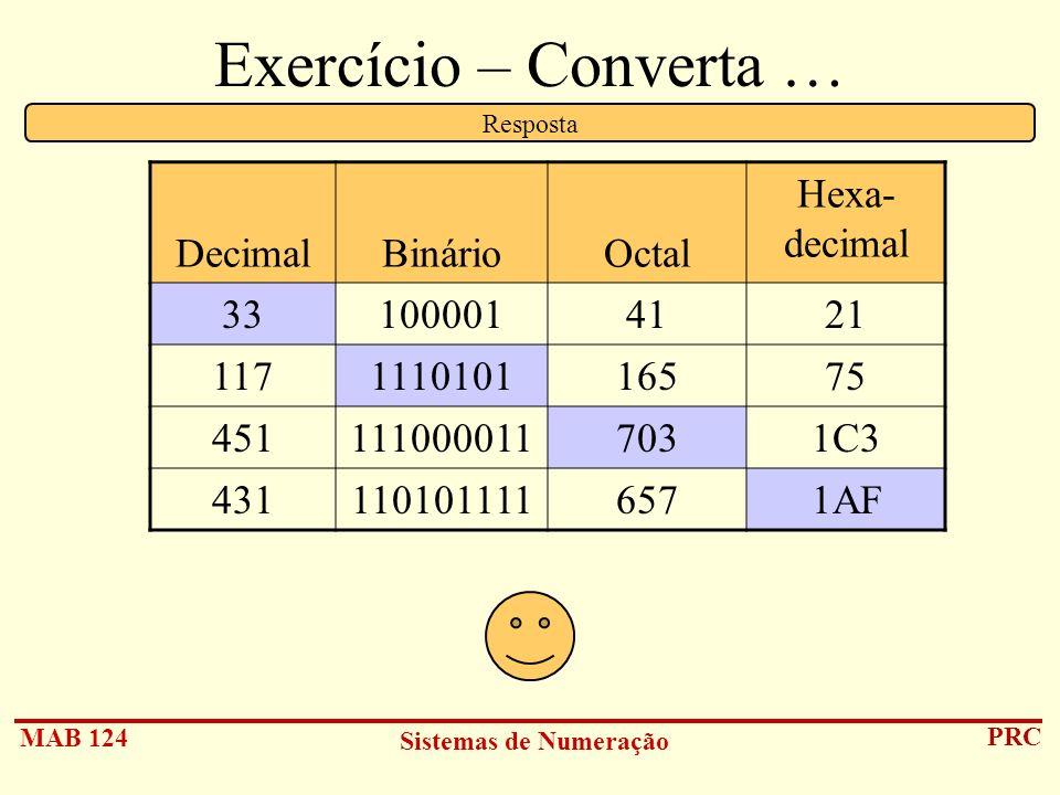 MAB 124 Sistemas de Numeração PRC Exercício – Converta … DecimalBinárioOctal Hexa- decimal 331000014121 117111010116575 4511110000117031C3 43111010111