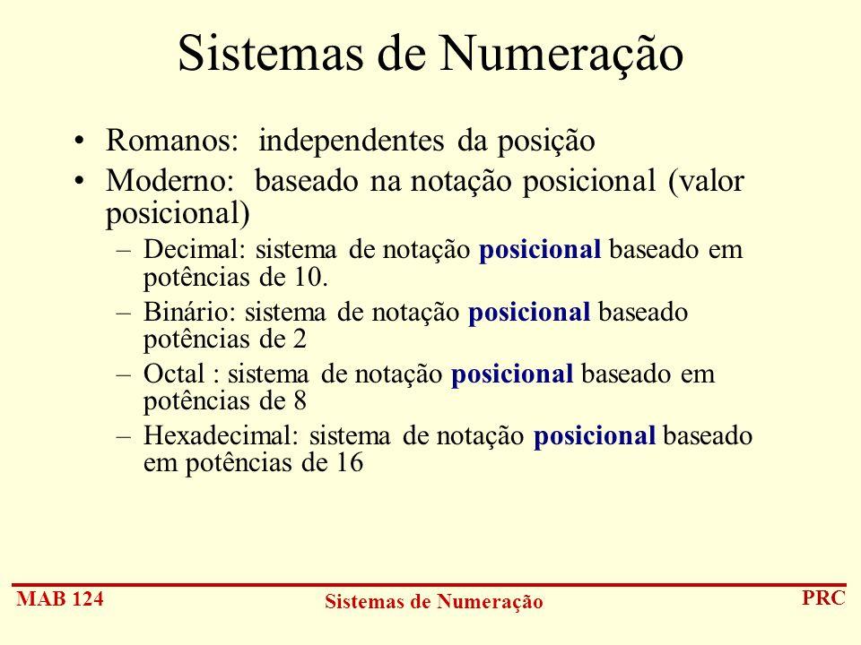 MAB 124 Sistemas de Numeração PRC Sistemas de Numeração Romanos: independentes da posição Moderno: baseado na notação posicional (valor posicional) –D