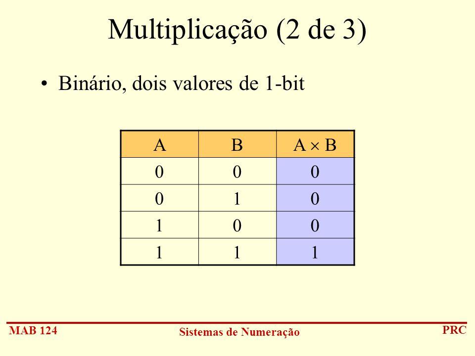 MAB 124 Sistemas de Numeração PRC Multiplicação (2 de 3) Binário, dois valores de 1-bit AB A B 000 010 100 111