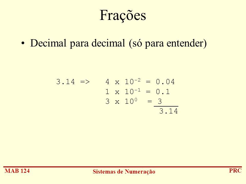 MAB 124 Sistemas de Numeração PRC Frações Decimal para decimal (só para entender) 3.14 =>4 x 10 -2 = 0.04 1 x 10 -1 = 0.1 3 x 10 0 = 3 3.14