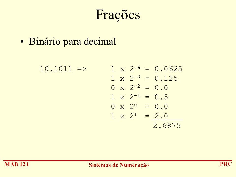 MAB 124 Sistemas de Numeração PRC Frações Binário para decimal 10.1011 => 1 x 2 -4 = 0.0625 1 x 2 -3 = 0.125 0 x 2 -2 = 0.0 1 x 2 -1 = 0.5 0 x 2 0 = 0