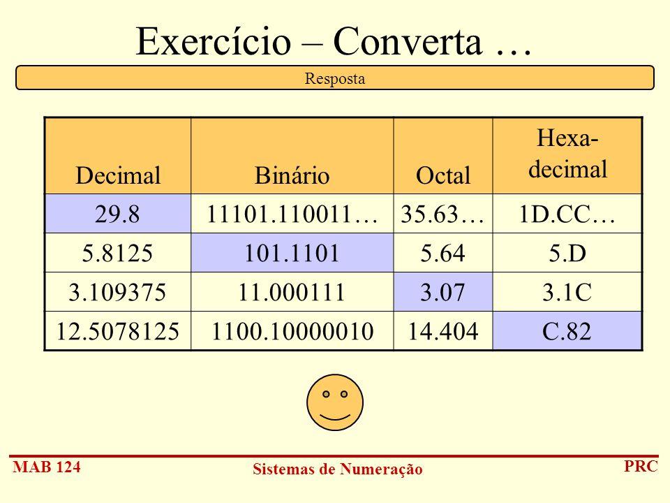 MAB 124 Sistemas de Numeração PRC Exercício – Converta … DecimalBinárioOctal Hexa- decimal 29.811101.110011…35.63…1D.CC… 5.8125101.11015.645.D 3.10937